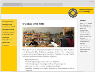 Screenshot der Website first-steps-augsburg.de