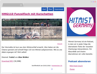 Screenshot der Website hitmist.podspot.de